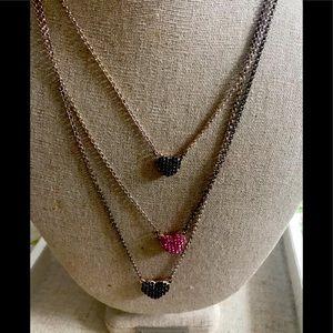 Lipsy three strand two way crystal heart necklace